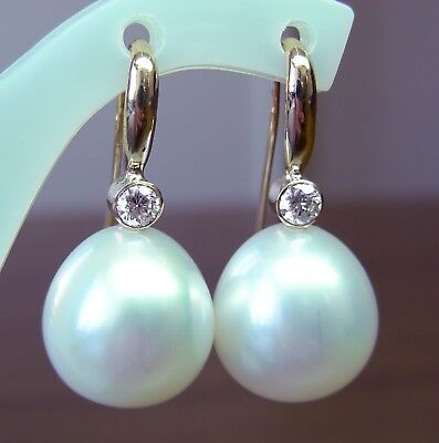 SOUTH SEA 15.4mm!! PEARLS UNTREATED +DIAMONDS +18ct SOLID W GOLD EARRINGS +CERT
