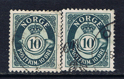 Norway #307(1) 1950-51 10 ore greenish grey POSTHORN 2 Used