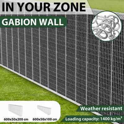 Gabion Retaining Wall Blocks Mesh Wire Stone Basket 6x0.5x1m/6x0.5x2m Steel