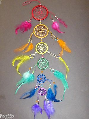 """NEW 6 Circle RAINBOW BEAD DREAM CATCHER 21"""" LONG Feather Wall Decoration"""