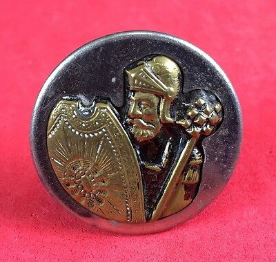 """The Crusader, Brass Metal Picture Button, 1 1/4"""",   #92"""
