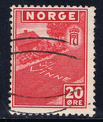 "Norway #263(1) 1943 20 ore rose red ""WE WILL WIN"" Used"