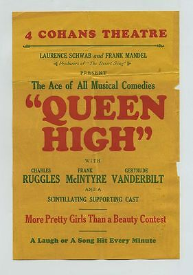 1930 Queen High Pre-Code Musical Comedy Movie Advertising Cohans Chicago IL bv71