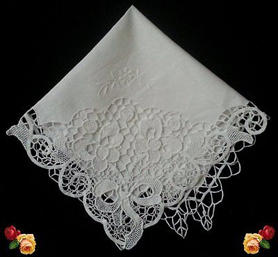 Vintage Needle Lace Doily Embroidered Floral Trellis White Scallop