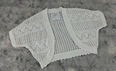 Justice Girls Size 6/7 White Sweater Crochet Short Sleeve Bolero Shrug Cardigan