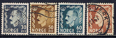 Norway #311/317(1) 1950 30 to 80 ore King Haakon VII 4 Used