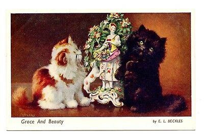 vintage cat postcard Beckles ginger black cats antique statue Grace and Beauty