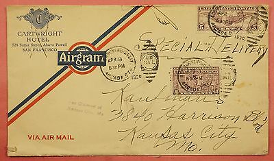 #e15 On 1930 Airmail Special Delivery Airgram San Fran Ca Hotel Advertising