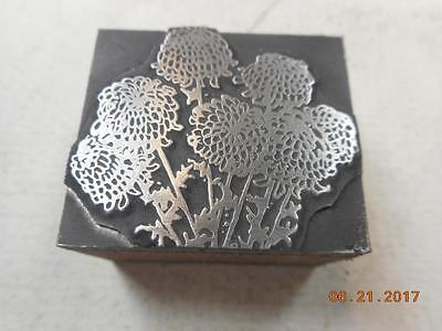 Printing Letterpress Printers Block, Decorative Flowers, Printers Cut