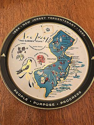 New Jersey Commenorative Metal Serving Tray Round Plaque Vintage Map 1664 - 1964