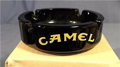 Lot of 2 New Camel Cigarette Round Black Ashtray Yellow Letters & Logo 4 Sides