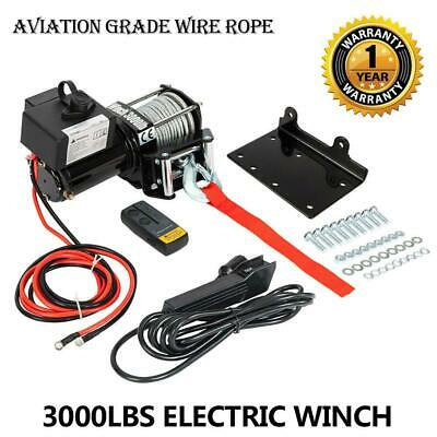 3000LBS 12V Electric Winch Kit ATV Steel Cable 1 PCS Wireless Remote Control New