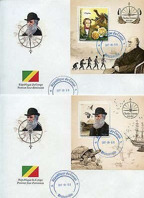 Congo 2017  Charles Darwin  Set Of Two  Souvenir Sheets On First Day Covers