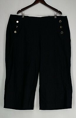 INC Plus Size Pants 24W Cropped Sailor Style Midnight Blue NEW 2nd