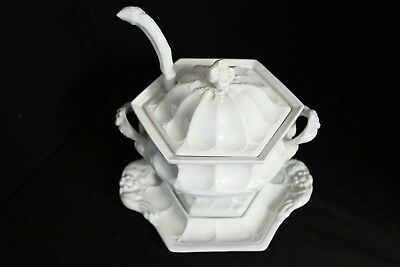 Red Cliff Ironstone Vintage 4 piece SOUP TUREEN (Complete) Toureen