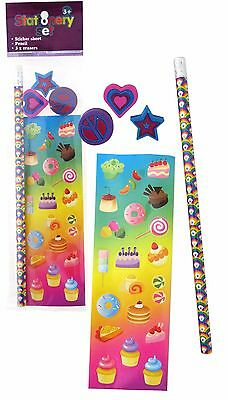 Bulk Lot of 20 Rainbow Lollipop Cupcakes Stationery Sets Girls Party Favors