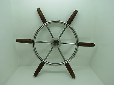 AUTHENTIC 21+ inch STAINLESS STEEL WOOD BOAT SHIPS WHEEL SAILBOAT DECOR (#2498)