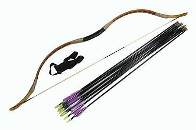 Hunting Longbow Set 25# Bow Recurve Bow+ String+12 Fiberglass arrows Finger