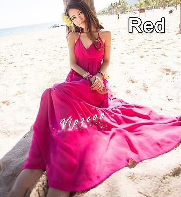 Women Summer Chiffon Slim Beach Pleated Elastic Waist Skirt Long Maxi Dress RED