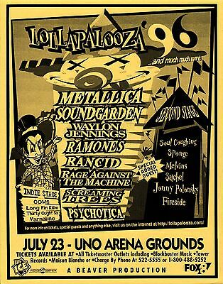 "Metallica/soundgarden/rancid ""lollapalooza"" 1996 New Orleans Concert Tour Poster"