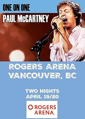 """PAUL MCCARTNEY """"ONE ON ONE"""" 2016 VANCOUVER CONCERT TOUR POSTER- Beatles,Rock,Pop"""
