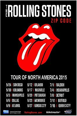 "ROLLING STONES ""ZIP CODE TOUR OF N. AMERICA 2015"" CONCERT POSTER -Tongue & Dates"
