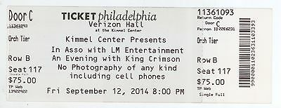 Rare KING CRIMSON 9/12/14 Philadelphia PA Concert Ticket Stub!