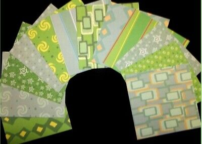 "*SHADES OF GREEN*  D/sided Scrapbooking/Cardmaking Papers - 15cm x15cm (6""x 6"")"