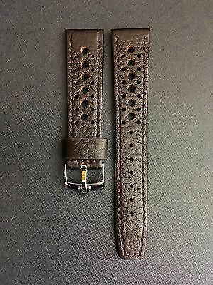 20mm Brown leather Perforated Racing Rally Watch Strap For Omega Speedmaster
