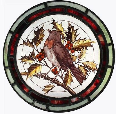 Beautiful Painted Robin In Holly Victorian English Stained Glass Bird Roundel
