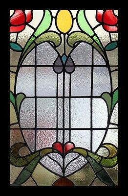 Splendid Rare Amazing Art Nouveau Roses Antique English Stained Glass Window