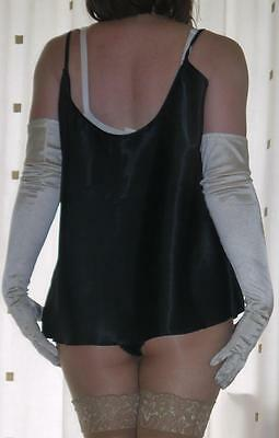 """Lovely silky satin & lace black camisole top size large  bust 46"""" brand new"""