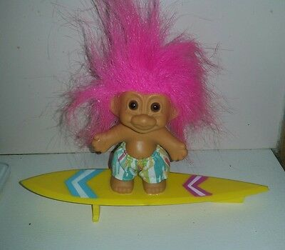 Vintage 1990's Russ surfing troll pink hair bathers surf board