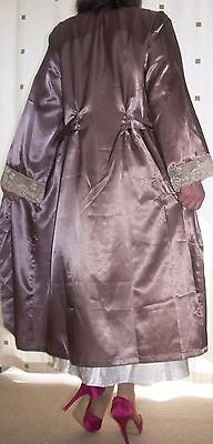 Beautiful bronze silky satin ivory lace cuff wrap - dressing gown large  x large