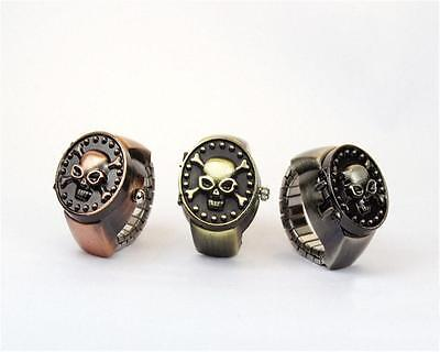 Antique Vintage Metal Punk Skull Pirate Cover Elastic Finger Ring Quartz Watch Q