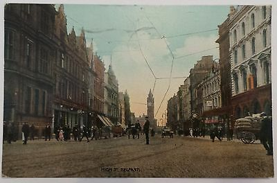 1919 Postcard - 'high Street, Belfast' - Antrim - Albert Clock - Posted