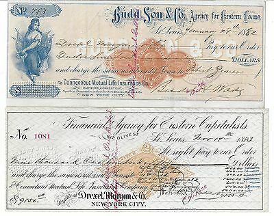 2 St. Louis Bank Drafts 1882-1883 RN-D1 & G1