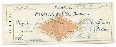 1879 Fostoria Ohio Bank Check RN-G1