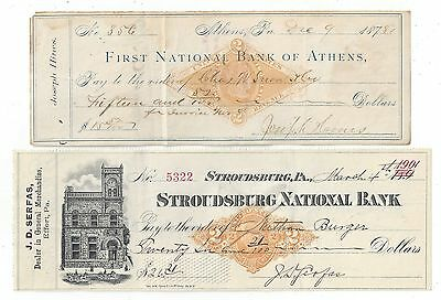 2 Pennsylvania Bank Checks 1878-1901