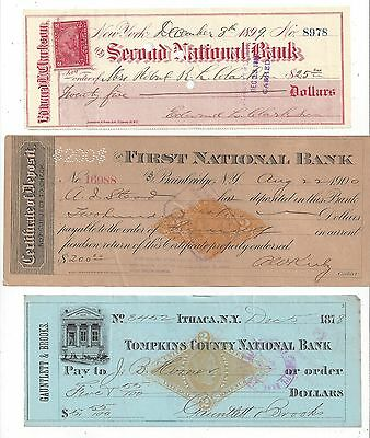 3 New York Checks & Certf. of Deposit 1878-1900