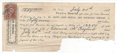 1868 St. Louis Promissory Note