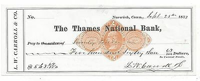 1873 Norwich Connecticut Bank Check RN-D1
