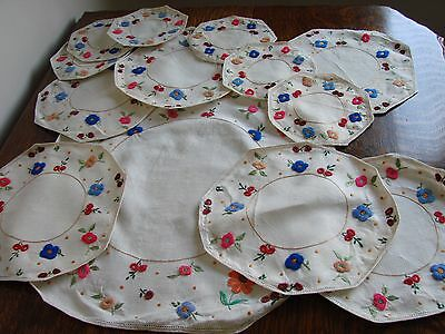Set of 13 linen lovely floral hand embroidered, doilies,table cover cloths mats