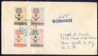 Haiti Registered Cover 1962 Abroad to USA, Year of Refugees Set