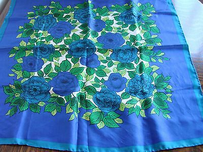 """Vintage 50s Clifford Bond, silk head scarf,rolled edges,blue roses 23.5"""" square"""