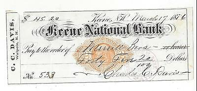 1876 Keene New Hampshire Bank Check RN-F1