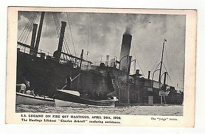 1906..s.s.lugano On Fire,hastings Lifeboat  Old Printed Postcard