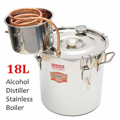 5Gal 18L Copper Moonshine Ethanol Alcohol Water Distiller Still Stainless Boiler