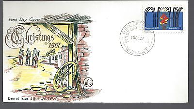 1967 Australia First day cover Christmas  5c Bells & Arches stamp Gold lettering