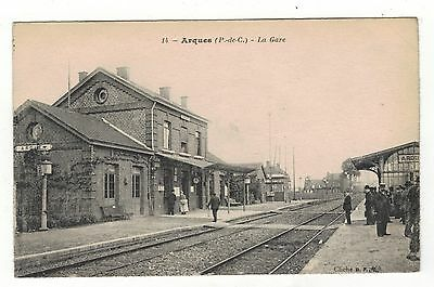 France, Arques Railway Station.old Printed Postcard